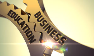 Business Education on the Mechanism of Golden Gears. Business Education - Illustration with Glow Effect and Lens Flare. Business Education - Concept. Business Education - Industrial Design. 3D.