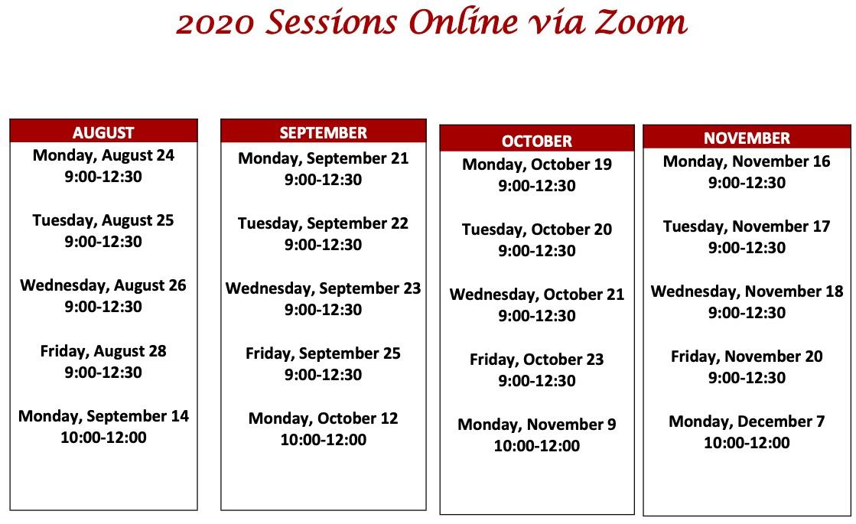 2020 tutor training schedule