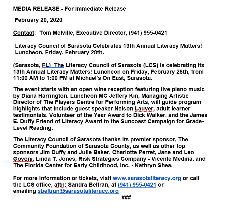 2020 Luncheon Media Release