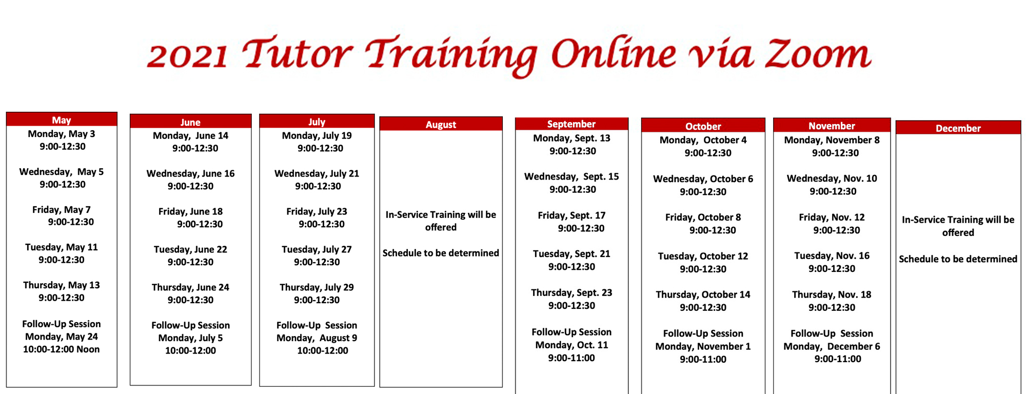 may to december 2021 tutor training schedule